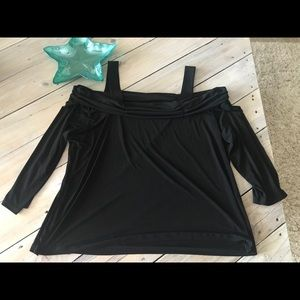 Stretchy Cold Shoulder Top - Size 2X
